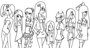 line art nightmare girls by hetl