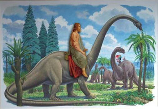 Jesus on a Dino by lonelydreamercat