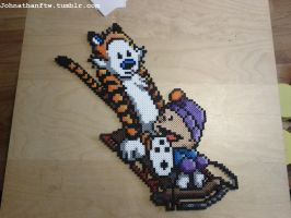 Calvin and Hobbes Perler Bead by WorkingtitleTBA