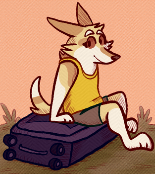 funny dog with a suitcase by Corrosives