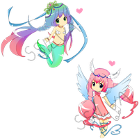 Mermaid and Angel Chibi Auction :CLOSED: by SteffieSilva
