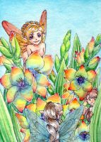 Gladioli and fairies by NeliaViola