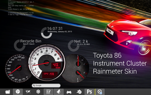 Toyota 86 Instrument Cluster Skin for Rainmeter by cloudstrife021