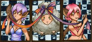 ACEO Commission: The Twins and Munch by dead-kittens3