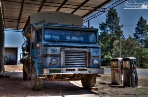 Old Truck At Fuel Pump by djzontheball