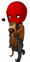 Jason Todd hugging on otter by Mikiku