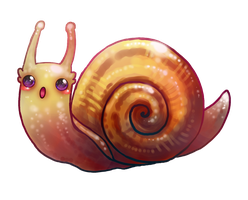 kawaii snail by michellescribbles