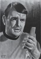 Scotty (James Doohan) Star Trek Sketch Card by avintagedreamer