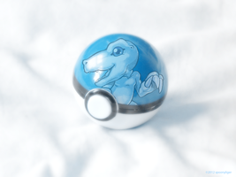 Pokeball of Blue Eyes White Agumon by spoonyliger