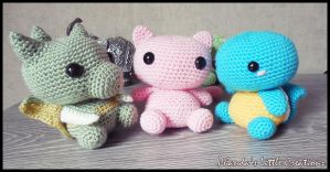 Scyther, Mew and Squirtle inspired amigurumi by FlyNnBasS