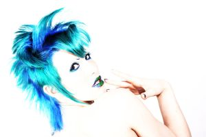 Blue hair and lips. by Ryo-Says-Meow