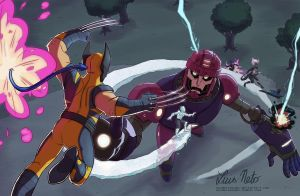 X-Men vs Sentinel by Spidersaiyan