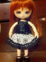Black ruffle top and floral lace skirt by Donttouchmykitty