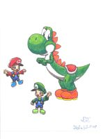 Yoshi and the baby Mario Bros. by wrencher888
