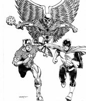 CAPT AMERICA, Dr MID-NITE and HAWKMAN COMMISSION by FanBoy67