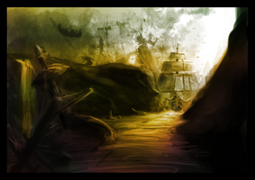 A ship in a black environment by Eowynu