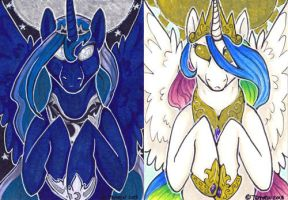 ACEO - Celestia and Luna by Temrin