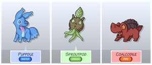 Fakemon: Starters by The-Knick