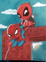 Deadpool and Spiderman chibi by Pradaninja