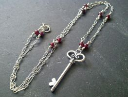 Silver Key Garnet Necklace by QuintessentialArts
