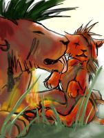Red XIII with Seto by hylianknight246