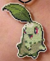Chikorita stitched necklace for ToonTwins by starrley