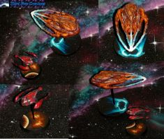 Farscape Moya and Talyn airbrushed miniatures by Atropos907