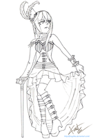 Sapphiria Steampunk Lineart (free to color) by fireytika