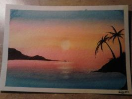 My first attempt at an ocean sunset painting by CrypticGrin