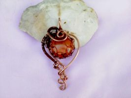 Amber glass and copper pendant by Mirtus63