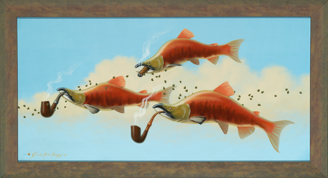Smoking Salmon With Capers - 15 x 30  oil on canva by LindaRHerzog