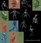 15 OC sketches from 3D by zhuzhu