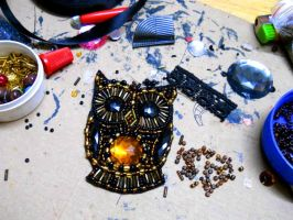 Beaded Owl - potential bib necklace work by AniDandelion