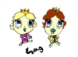 Baby Daisy and Baby Peach by Melc1010
