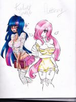 Twilight Sparkle And Fluttershy ( not completed ) by TheLouSama