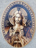 Sacred Heart of Jesus III - Pyrography by Theophilia