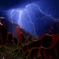 Night storm in the valley of red mountains by androceus