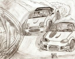 Dueling Roadsters by BrainlessPencil