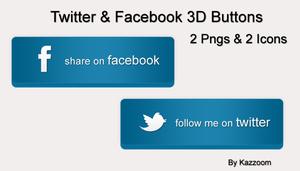 Twitter and Facebook 3D Buttons by chamirra