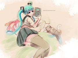 quick sketch: miku +3ds xl by cakeroll