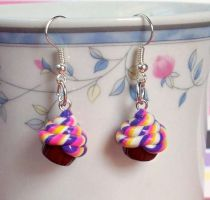 Circus Cupcake Earrings by Cuddlebugeeshi
