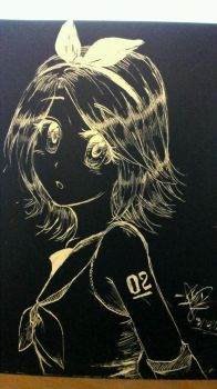 Kagamine Rin on scratchboard by Damianne-Violet