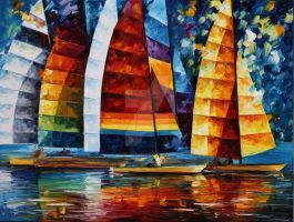 SEA REGATTA by Leonid Afremov by Leonidafremov
