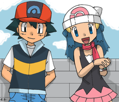 Ash and Dawn - Pokemon Style by Endless-Rainfall