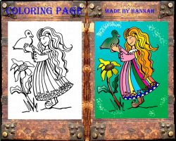 Girl with Duck coloring book page for kids by FractalBee