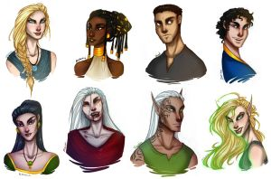 Throne of Glass - character doodles by TroubleTrain