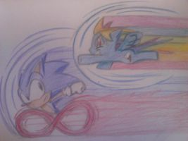 Sonic the Hedgehog and Rainbow Dash by solarsonic21