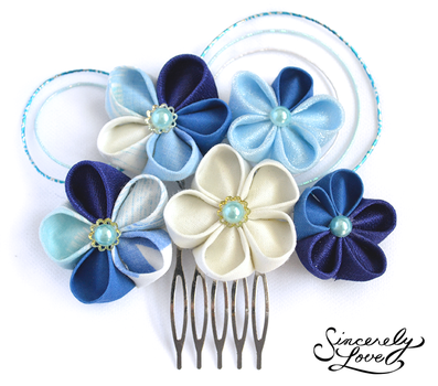 Blue Skies Kanzashi by SincerelyLove
