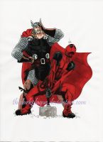 Deadpool and Thor by thedarkplague