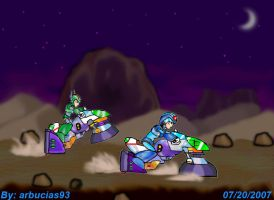 Mega Man X w Green Biker Dude by Shinobi-Gambu